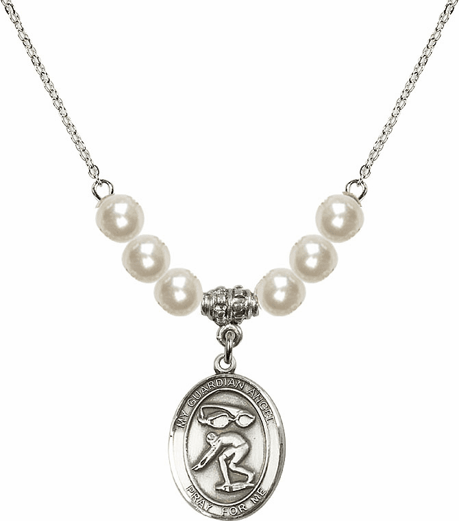 Bliss Mfg Sterling Silver Guardian Angel Swimming Sterling Charm with Faux Pearls Necklace