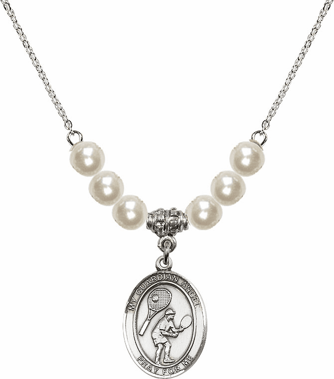 Bliss Mfg Guardian Angel Tennis Sterling Charm with Faux Pearls Necklace