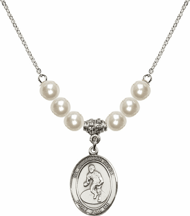 Bliss Mfg Sterling Silver Guardian Angel Wrestling Sterling Charm with Faux Pearls Necklace