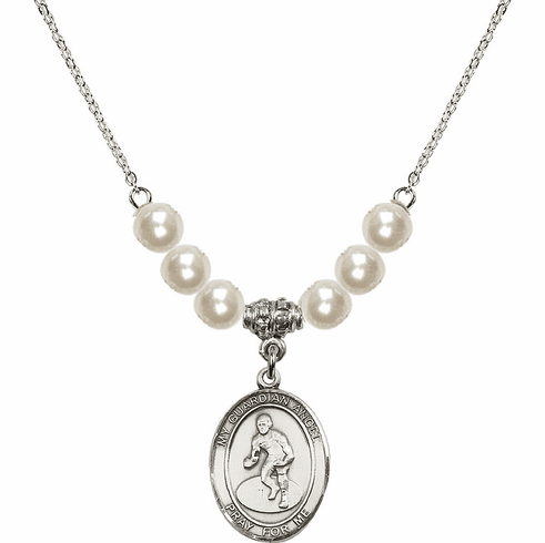 Bliss Mfg Guardian Angel Wrestling Sterling Charm with Faux Pearls Necklace
