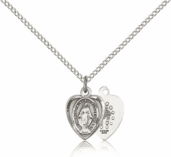 Bliss Mfg Sterling Silver Heart Shape Miraculous Medal Pendant Necklace