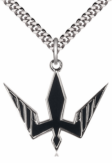 Bliss Mfg Sterling Silver Holy Spirit Black Epoxy Pendant Necklace