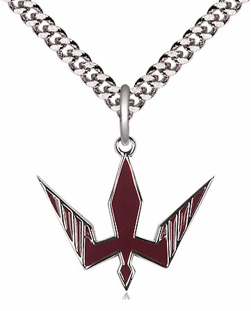 Bliss Mfg Sterling Silver Holy Spirit Red Epoxy Pendant Necklace