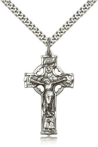 Bliss Mfg Sterling Silver Irish Celtic Crucifix Cross Medal Medal Pendant Necklace