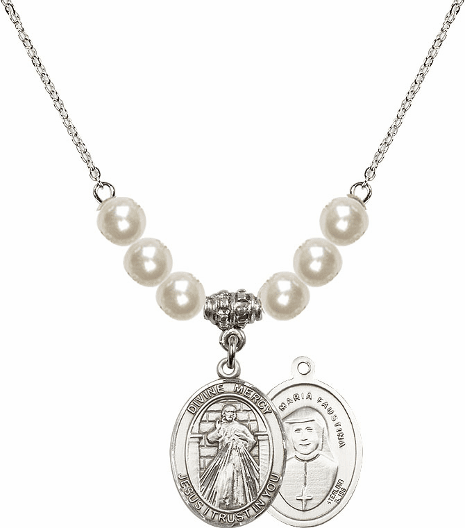 Bliss Mfg Jesus Divine Mercy Sterling Charm with Faux Pearls Necklace