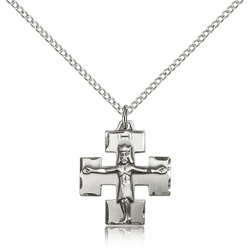 Bliss Mfg Sterling Silver Modern Crucifix Medal Pendant Necklace