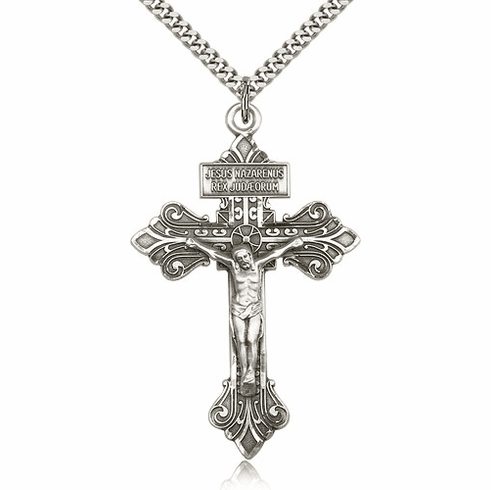 Bliss Mfg Sterling Silver Pardon Crucifix Cross Medal Medal Pendant Necklace