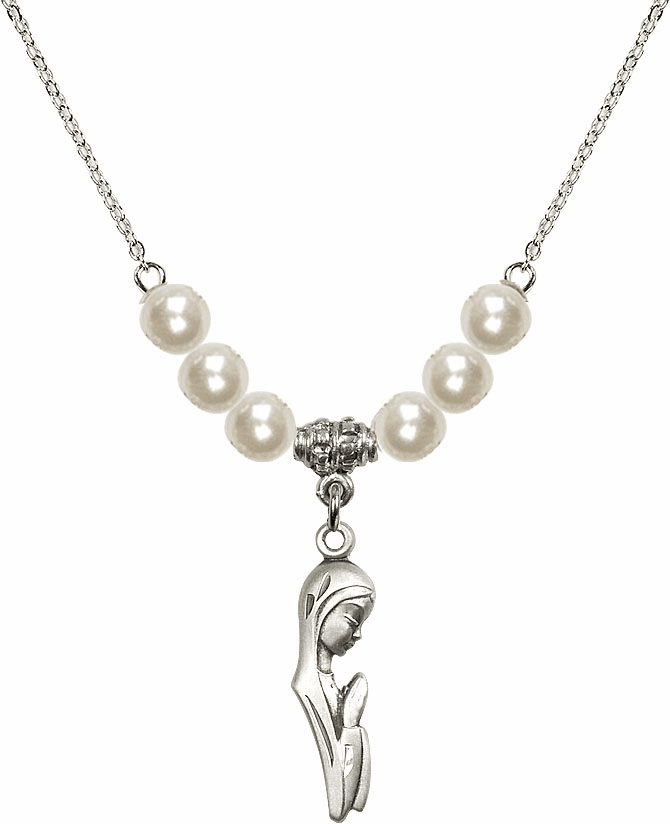 Bliss Mfg Sterling Silver Praying Madonna Sterling Charm with Faux Pearls Necklace