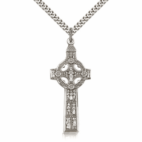 Bliss Mfg Sterling Silver Scriptures Cross Medal Medal Pendant Necklace