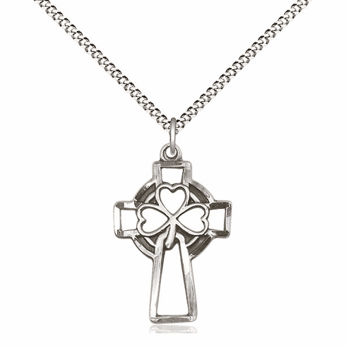Bliss Mfg Sterling Silver Shamrock Cross Medal Pendant Necklace