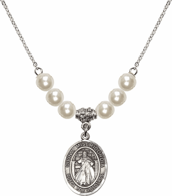 Bliss Mfg Sterling Silver Spanish Misericordia/Jesus Divine Mercy Sterling Charm with Faux Pearls Necklace