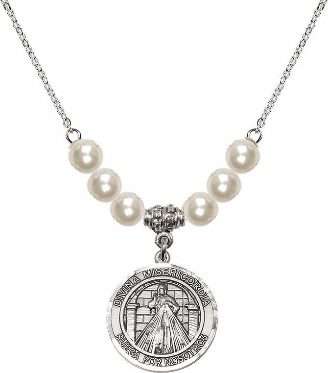Bliss Mfg Sterling Silver Spanish Round Misericordia/Jesus Divine Mercy Sterling Charm with Faux Pearls Necklace