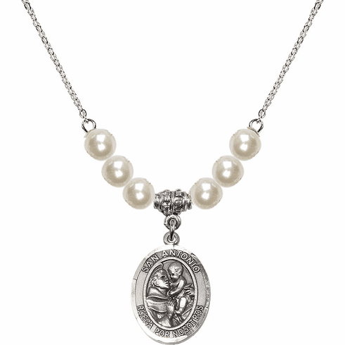 Bliss Mfg Spanish San Antonio Sterling Charm with Faux Pearls Necklace