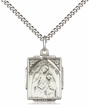Bliss Mfg Sterling Silver St Anne and Mary Pendant Necklace