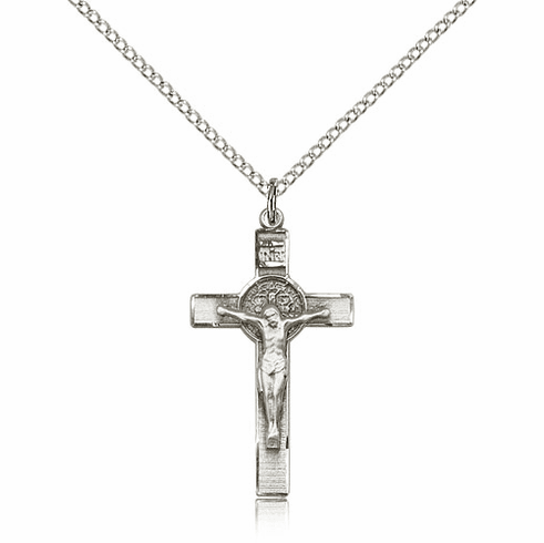 Bliss Mfg Sterling Silver St Benedict Crucifix Saint Pendant Necklace