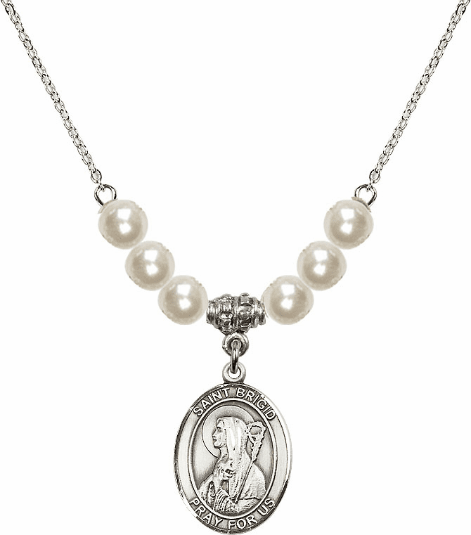 Bliss Mfg Sterling Silver St Brigid of Ireland Sterling Charm with Faux Pearls Necklace