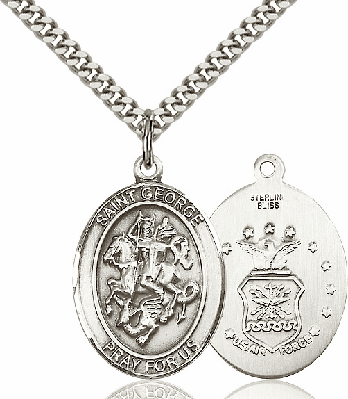 Bliss Sterling Silver St. George Air Force Saint Pendant