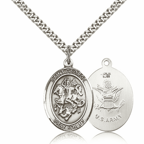 Bliss Sterling Silver St. George Army Pendant Necklace