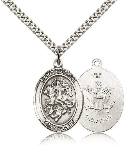 Bliss Mfg Sterling Silver St. George Army Pendant Necklace