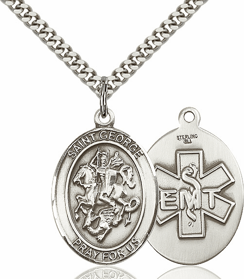 Bliss Mfg Sterling Silver St. George EMT Saint Medal Pendant