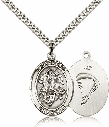 Bliss Mfg Sterling Silver St. George Paratrooper Saint Medal Necklace