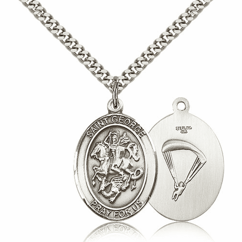 Bliss Sterling Silver St. George Paratrooper Saint Medal Necklace
