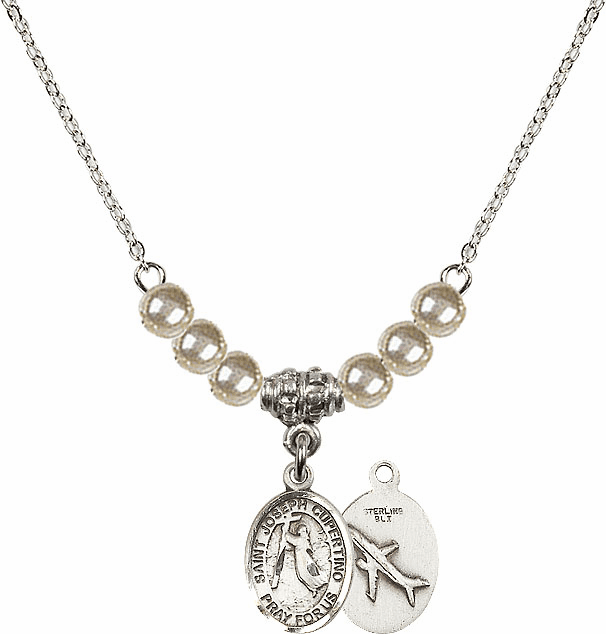 Bliss Mfg St Joseph of Cupertino Airplane Sterling Charm with Faux Pearls Necklace
