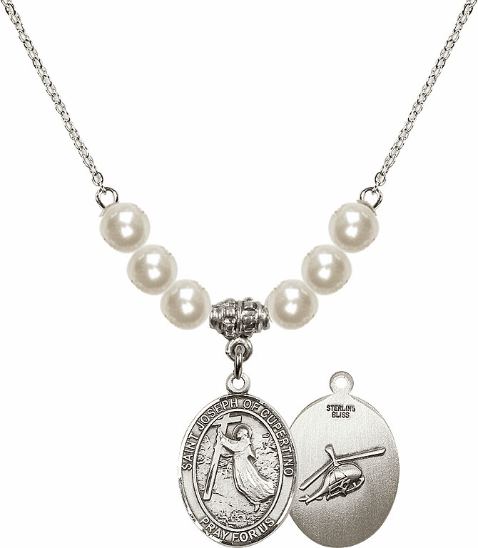 Bliss Mfg St Joseph of Cupertino Helecopter Sterling Charm with Faux Pearls Necklace