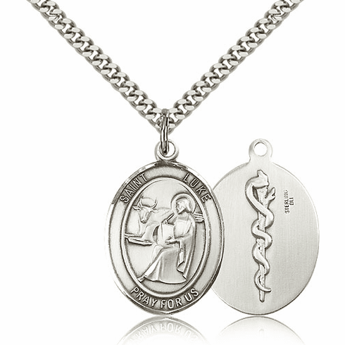Bliss Mfg Sterling Silver St Luke the Apostle Doctor/Physician Medical Saint Medal