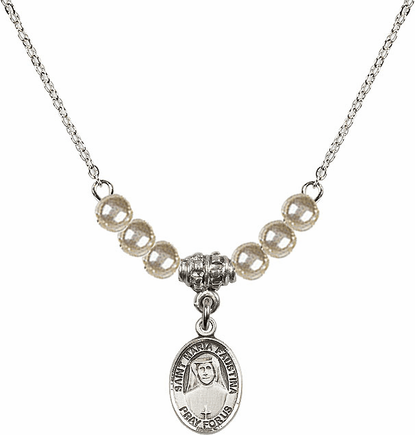 Bliss Mfg St Maria Faustina Sterling 4mm Faux Pearls Necklace