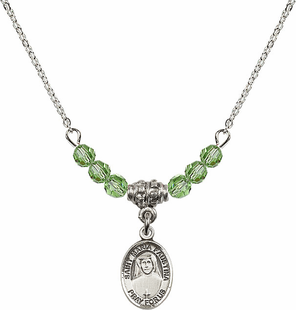 Bliss Mfg St Maria Faustina Sterling August Peridot 4mm Swarovski Crystal Necklace