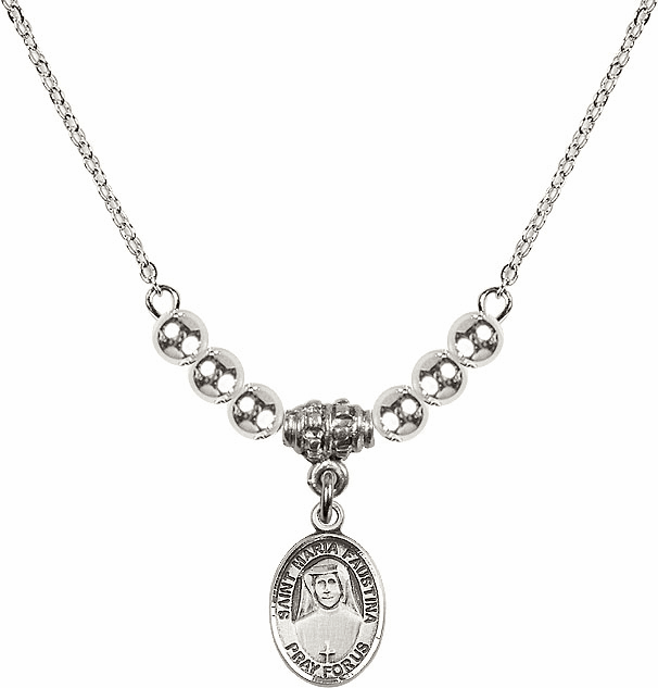 Bliss Mfg St Maria Faustina Sterling Charm w/4mm Silver Beaded Necklace