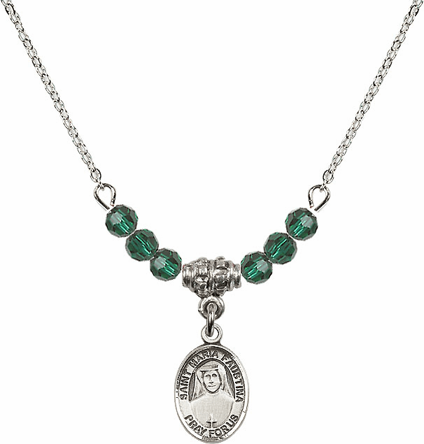 Bliss Mfg St Maria Faustina Sterling May Emerald 4mm Swarovski Crystal Necklace