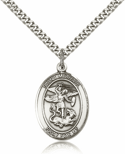 Bliss Mfg Sterling Silver St Michael the Archangel Pendant Necklace