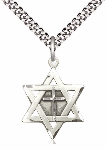 Bliss Mfg Sterling Silver Star of David Medal with Cross Necklace