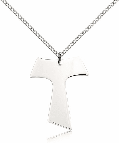 Bliss Mfg Sterling Silver Tau Cross Medal Pendant Necklace