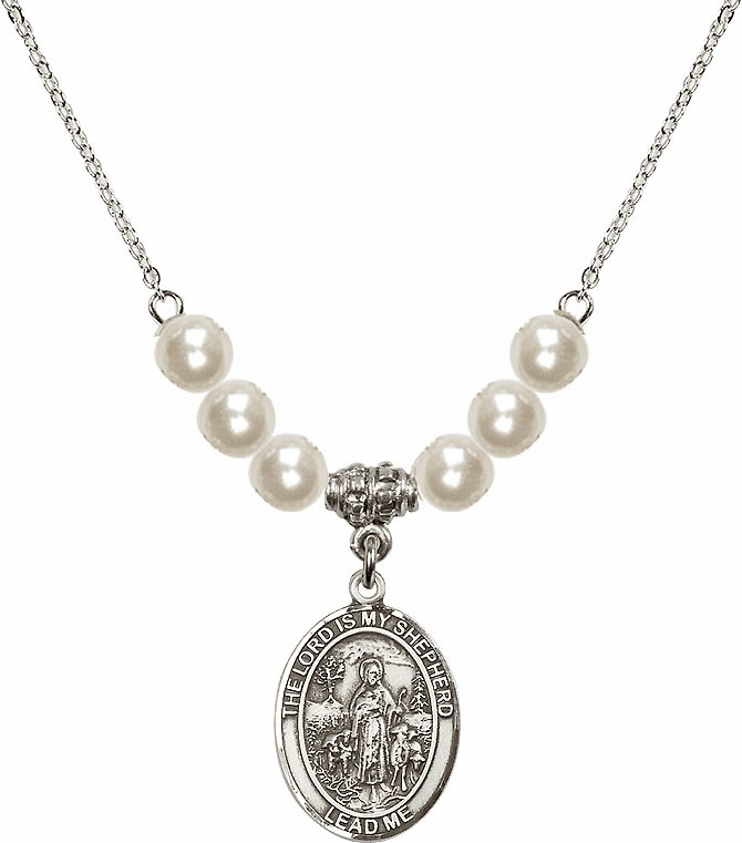 Bliss Mfg The Lord is My Shepherd Sterling Charm with Faux Pearls Necklace