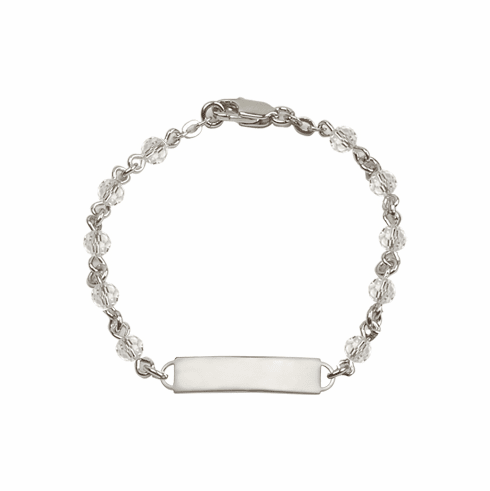 Bliss Mfg Swarovski April Crystal Birthstone Sterling ID Bracelet