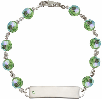 Bliss Mfg Swarovski August Peridot Birthstone Sterling ID Bracelet