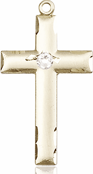 Bliss Mfg Swarovski Crystal April Crystal Birthstone 14kt Gold Cross