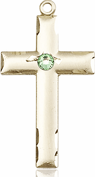 Bliss Mfg Swarovski Crystal August Peridot Birthstone 14kt Gold Cross