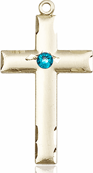 Bliss Mfg Swarovski Crystal December Zircon Birthstone 14kt Gold Cross