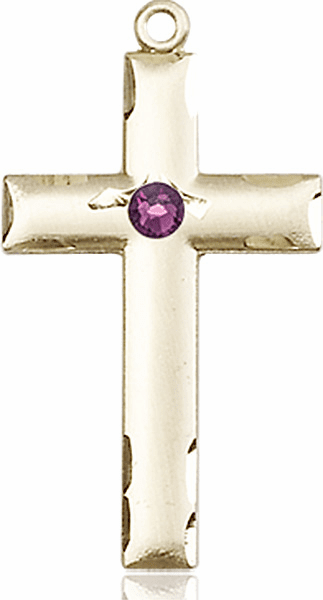 Bliss Mfg Swarovski Crystal February Amethyst Birthstone 14kt Gold Cross