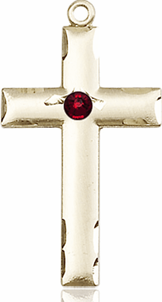 Bliss Mfg Swarovski Crystal January Garnet Birthstone 14kt Gold Cross