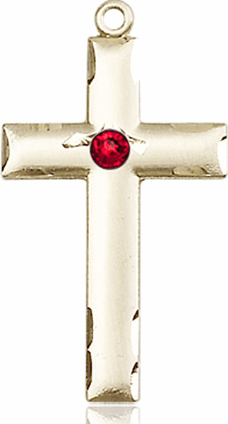 Bliss Mfg Swarovski Crystal July Ruby Birthstone 14kt Gold Cross