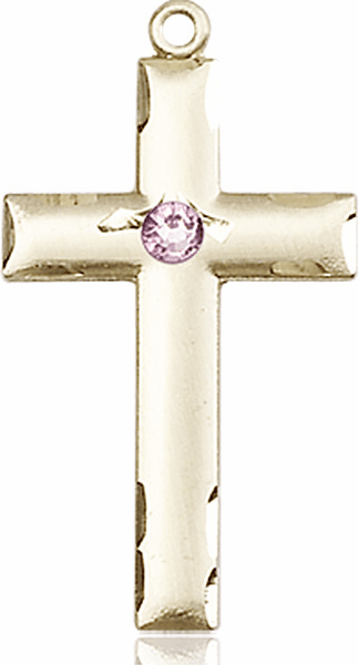 Bliss Mfg Swarovski Crystal June Lt Amethyst Birthstone 14kt Gold Cross