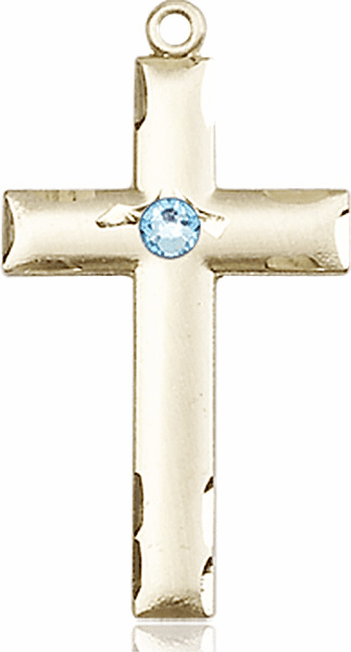 Bliss Mfg Swarovski Crystal March Aqua Birthstone 14kt Gold Cross
