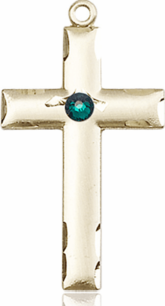 Bliss Mfg Swarovski Crystal May Emerald Birthstone 14kt Gold Cross