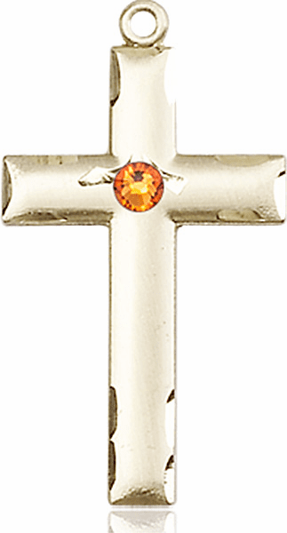 Bliss Mfg Swarovski Crystal November Topaz Birthstone 14kt Gold Cross