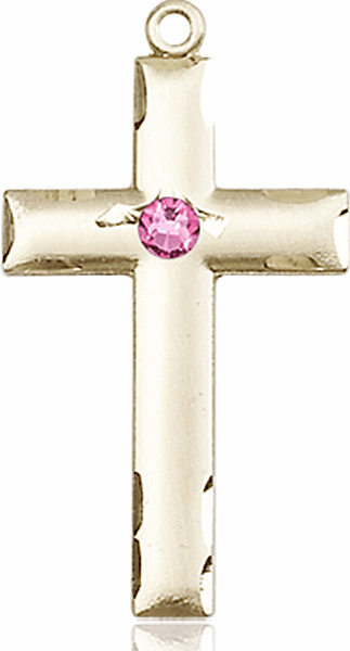 Bliss Mfg Swarovski Crystal October Rose Birthstone 14kt Gold Cross